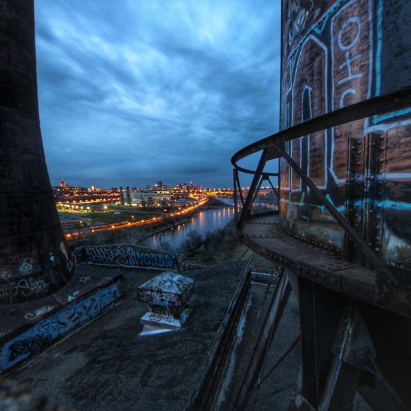Saint Paul, MN from the Abandoned Island Station Powerplant by Courtney Celley.