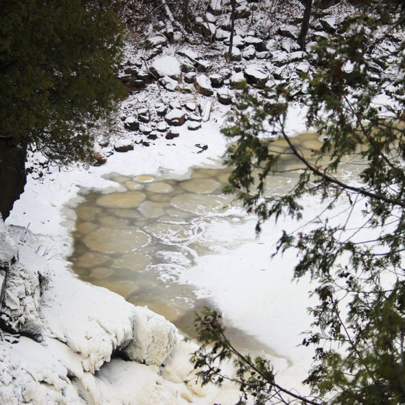 Pancake ice on the Cross River by Courtney Celley